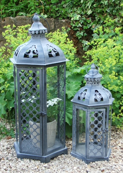 Pair of Antique Grey Lanterns